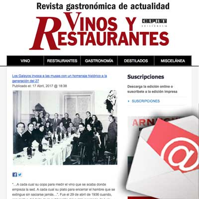 NEWSLETTER VINOS Y RESTAURANTES